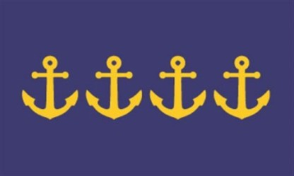 """Resurgam Flag 2"" by Jeremy Hammond Designer's comments: Blue and gold represent the sea and prosperity and provide continuity with the current Portland flag. In true heraldic form, the image of several overlapping anchors depicts a busy port. The number of anchors was chosen to honor the four fires the city has survived and in visual form to exclaim the city's motto, Resurgam. Contest judge Ted Kaye's comments: This stand-out design combines two symbolic themes—the nautical history of Portland and its four fires—in a striking, effective, and recognizable image. I would be proud to live under this flag."