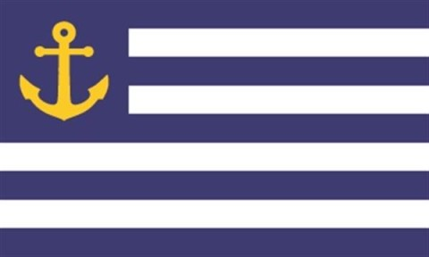 """Portland Liberty"" by Jeremy Hammond Designer's comments: This flag is includes popular Portland symbolism and is also designed to fly well with the American flag. Judge Ted Kaye's comments: This simple, conservative design could represent a state or even a country—the anchor is a great symbol."