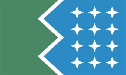 """Jewel of Casco Bay"" by Jeff Woodbury Designer's comments: Green for Forest City. Blue for Casco Bay. The zigzag echoes waves on a rocky coast. Portland is the central point: the peninsula in the center, pointing to the stars. Indents above and below center represent the Fore and Presumpscot Rivers. 12 stars shine for the 12 major islands of Casco Bay. Each 4-pointed star is a compass rose, symbolizing both direction and the individuality of Mainers. The stars in a grid combine to weave the warp and weft of lobster traps and sailcloth. Turned on its end, green side down, the constellations illuminate forested mountains. Green side up, and ships rest safely at anchor. Uncomplicated, but not simplistic. A flag for Portland. Judge Ted Kaye's comments: It's refreshing to see the division of a flag's field hold meaning—in this case the serrated line representing the division of coast and sea. The four-pointed stars for islands create an effective pattern."