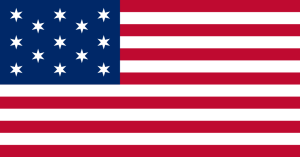 "The ""Francis Hopkinson"" flag has 13 6-pointed stars arranged in the style of the current US flag."