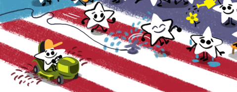 The 4th of July in Google Doodles