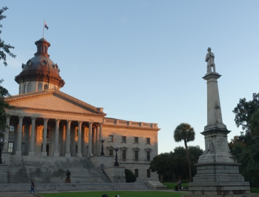 The South Carolina State House and Confederate Monument, 2016: Flagpole and fencing removed.
