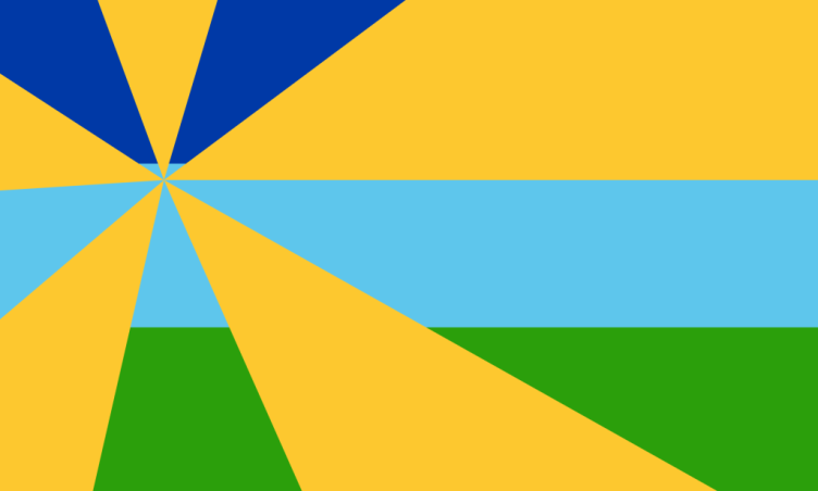 """Alejandro Sanchez: """"My flag shows three stripes and five rays. The green line represents the green grasses of Coral Springs. The light blue represents the blue sky's, Coral Springs always has. The yellow rays are the rays from the sun that constantly shine above us. The dark blue represents the night and its covered by a sun ray because even though there is no sunlight during the night; the nights in Coral Springs are always warm."""""""