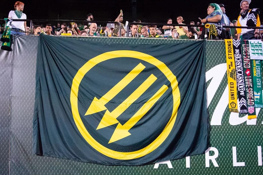 Iron Front flag on displayin Providence Park. Photo by Kris Lattimore.